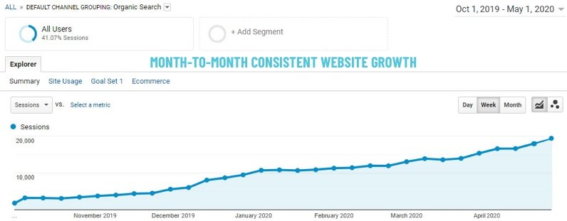 Google Analytics screenshot showing month-to-month consistent website growth