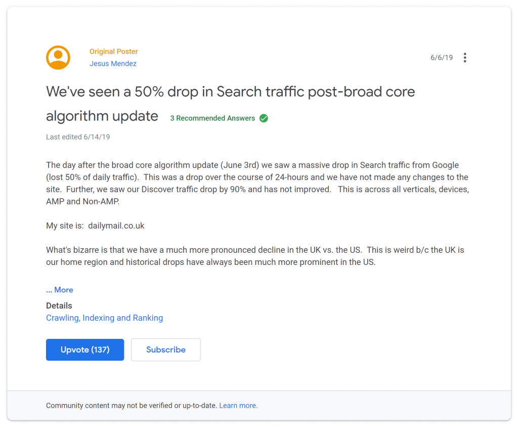 Complaint on a forum about June 2019 Google Core Update