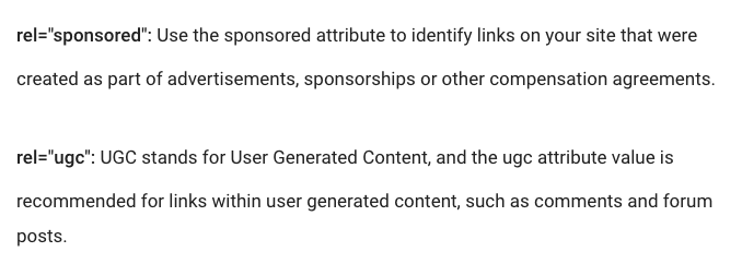 "Link rel=""sponsored"" and rel=""ugc"" explained"