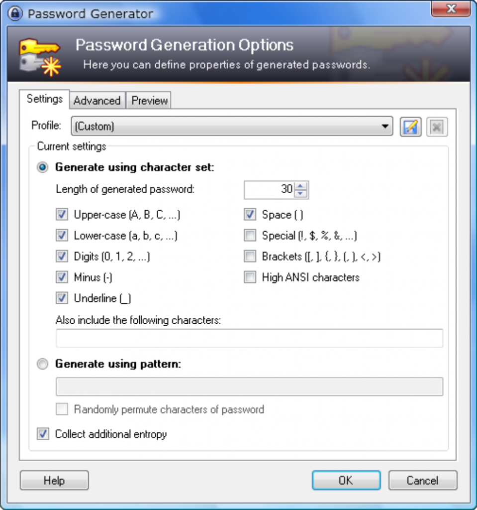 Keepass - Password Generation Settings