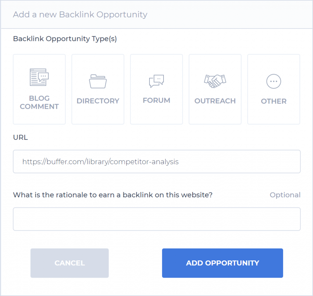 How to add a Backlink Opportunity with SEO Buddy