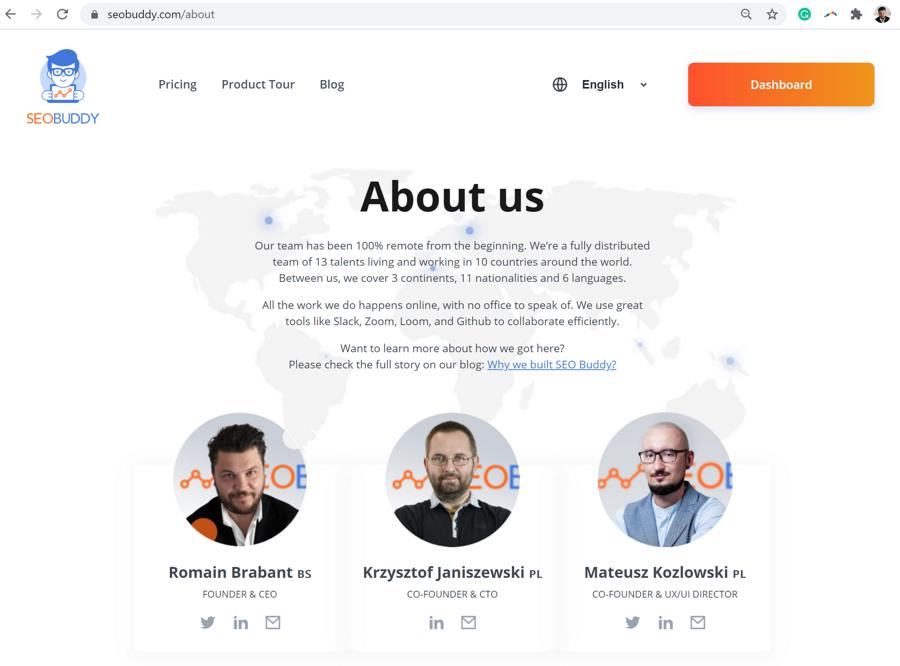 "An example of an ""About us"" page"