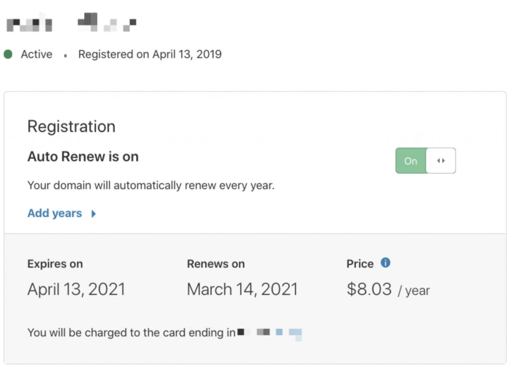 Renewal Period Length for a Domain