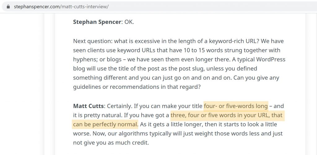 Matt Cutts views on URL Size during an interview with Stephan Spencer (Transcript Screenshot)
