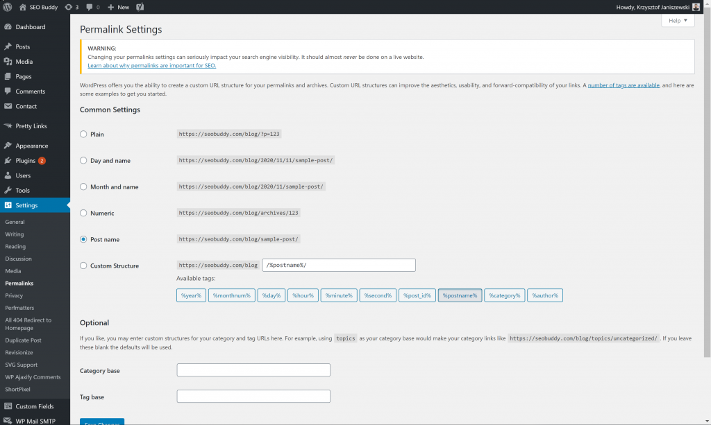 Permalink Settings on WordPress