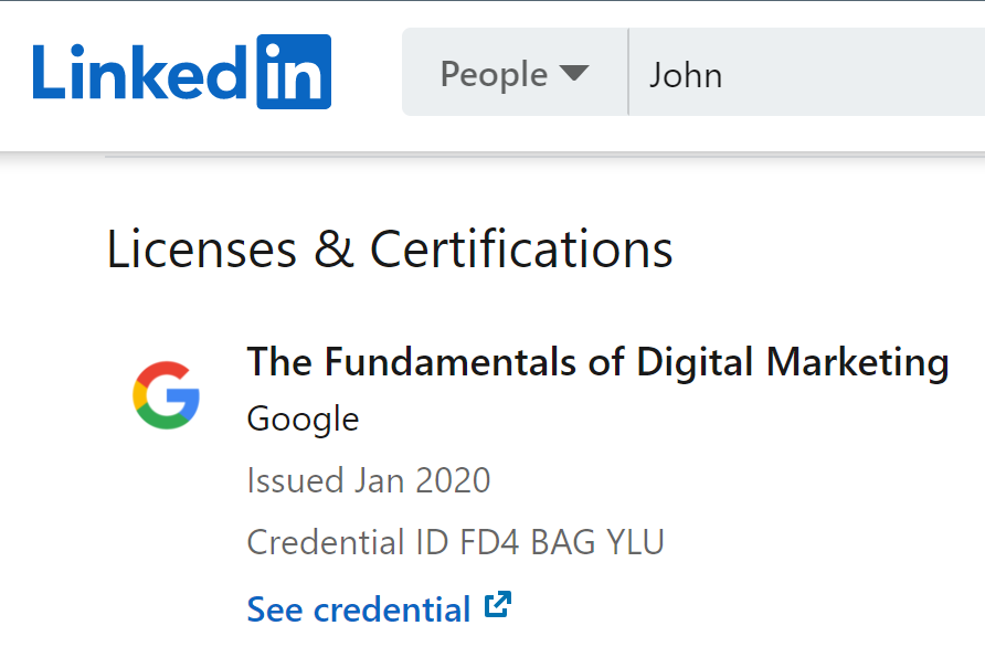 License & Certification showcased on LinkedIn