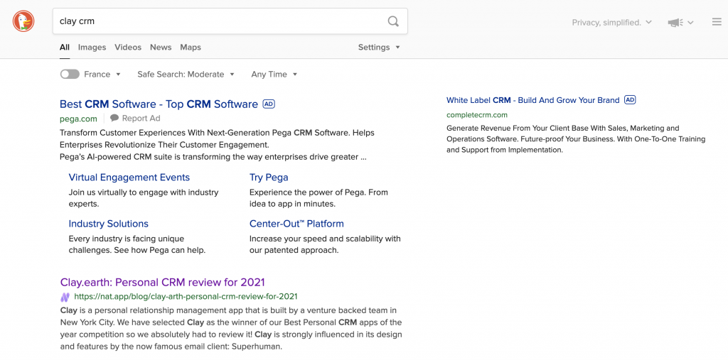 SERP for Clay CRM on Duck Duck Go