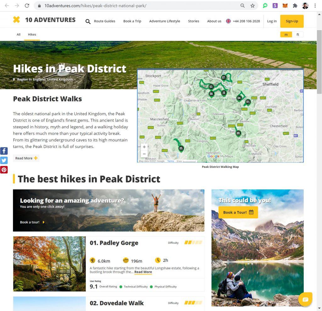 SEO Optimized Landing Page on 10Adventures.com