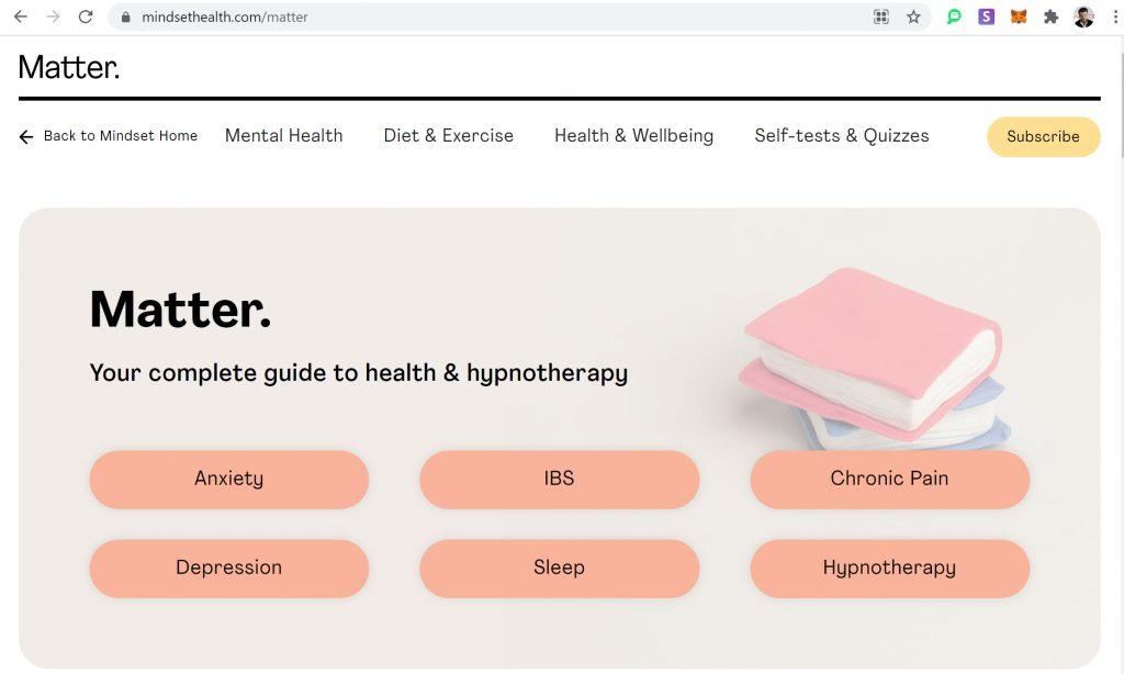 "Content Jub ""Matter"" on mindsethealth.com"
