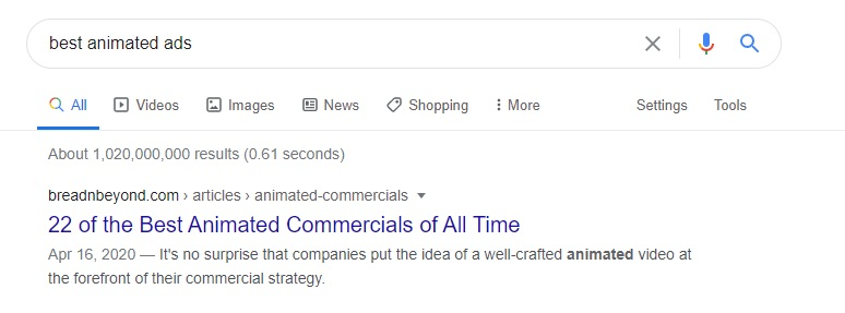 """1st Position in SERP for the Keyword """"Best Animated Ads"""""""