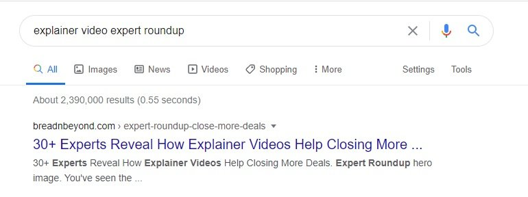 "Google SERP for the keyword ""Explainer Video Roundup"""