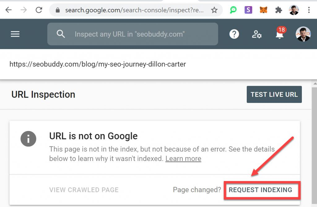 Request Indexing using Google Search Console URL Inspection Tool