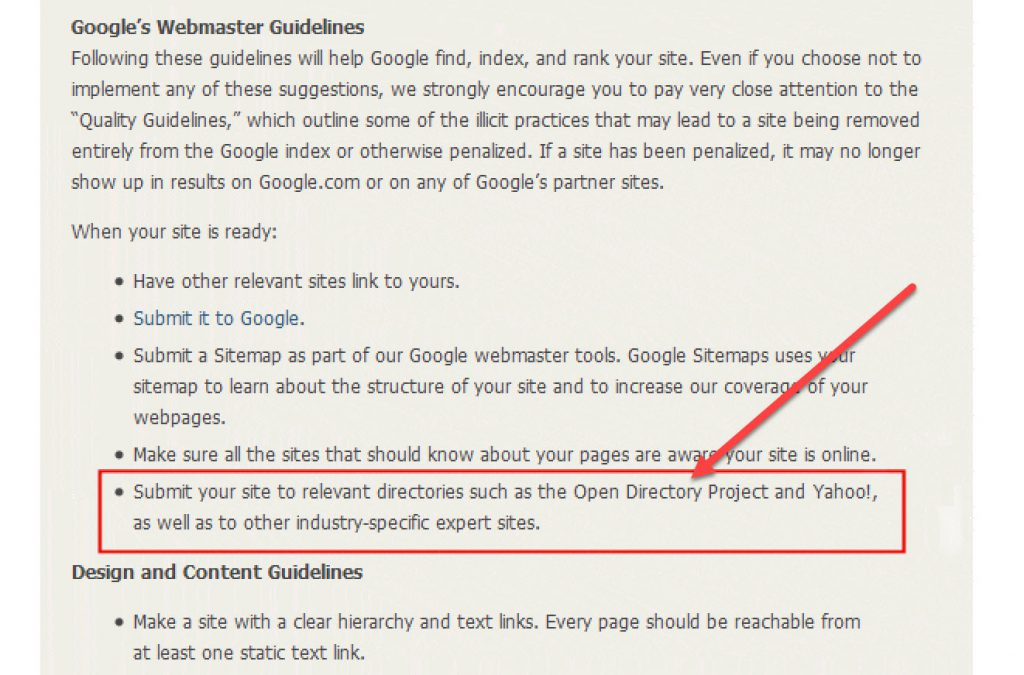 Google's Webmaster Guidelines from a decade ago (about Directories)