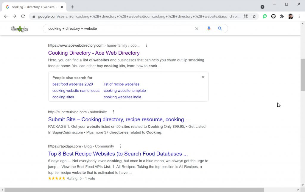 """SERP for """"cooking + directory"""""""
