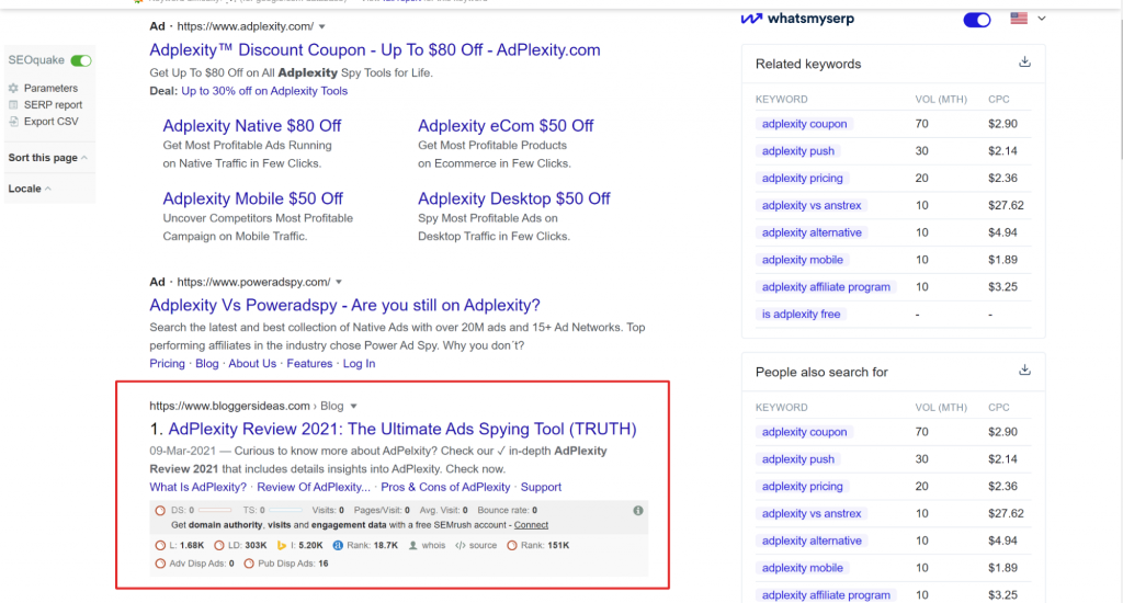 """SERP for the keyword """"Adplexity Review 2021"""""""