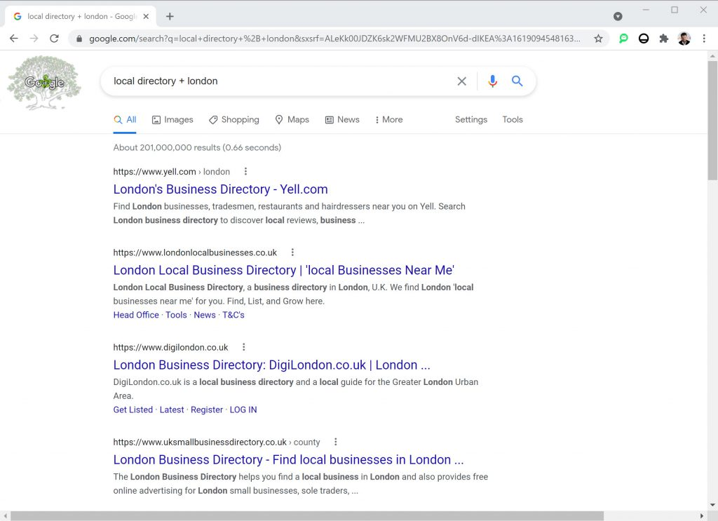 """SERP for """"local directory + London"""""""