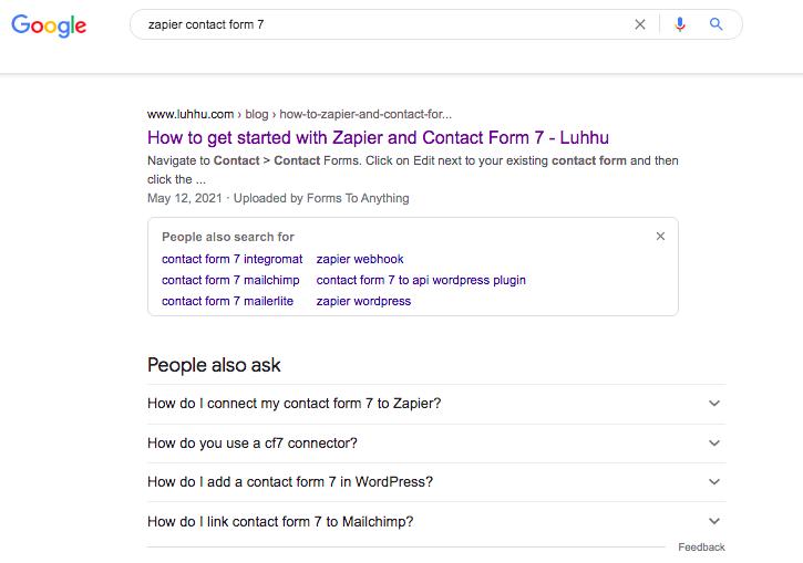 "SERP for ""zapier contact form 7"" (Source: Google)"